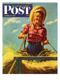 """Woman Driving Hay Wagon,"" Saturday Evening Post Cover, August 14, 1943 Giclee Print by Ray Prohaska"
