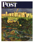 """Central Park Rainbow,"" Saturday Evening Post Cover, April 30, 1949 Giclee Print by John Falter"