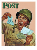 """""""Baby Booties at Boot Camp,"""" Saturday Evening Post Cover, June 17, 1944 Giclee Print by Howard Scott"""