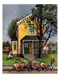 """Baseball Player Mowing the Lawn,"" July 20, 1946 Giclee Print by Stevan Dohanos"