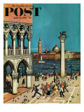 """American Tourists in Venice,"" Saturday Evening Post Cover, June 10, 1961 Giclee Print by Amos Sewell"
