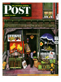"""Hardware Store at Springtime,"" Saturday Evening Post Cover, March 16, 1946 Giclee Print by Stevan Dohanos"