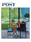 """Poolside Piano Practice,"" Saturday Evening Post Cover, June 11, 1960 Giclee-trykk av George Hughes"