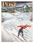 &quot;Snow Skiier After the Falls,&quot; Saturday Evening Post Cover, January 25, 1947 Giclee Print by Constantin Alajalov