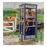 """Cub Scouts in Phone Booth,"" August 26, 1961 Giclee Print by Richard Sargent"