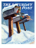 """Mailboxes in Snow,"" Saturday Evening Post Cover, December 27, 1941 Giclee Print by Miriam Tana Hoban"