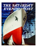 """Dry Dock,"" Saturday Evening Post Cover, July 5, 1941 Giclee Print by Arthur C. Radebaugh"