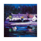 Blue Boat Lochgair Collectable Print by John Lowrie Morrison