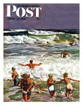 """Surf Swimming,"" Saturday Evening Post Cover, August 14, 1948 Giclee Print by John Falter"