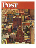 """Bird's-Eye View of New York City,"" Saturday Evening Post Cover, August 17, 1946 Giclee Print by John Falter"