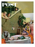 """Stealing Cake at Grownups Party,"" Saturday Evening Post Cover, September 10, 1960 Gicléetryck av Thornton Utz"