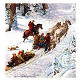 """Winter Sleigh Ride,"" December 17, 1949 Giclee Print by John Clymer"