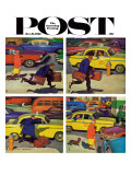 """Rush Hour (4 panel),"" Saturday Evening Post Cover, October 21, 1961 Giclee Print by Richard Sargent"