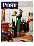 """Readying for First Date,"" Saturday Evening Post Cover, October 16, 1948 Giclee Print by George Hughes"