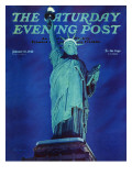"""Statue of Liberty,"" Saturday Evening Post Cover, January 10, 1942 Giclee Print by Ivan Dmitri"
