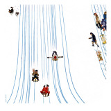 """Sledding Designs in the Snow,"" February 3, 1962 Giclee Print by John Falter"