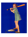 """Girl at Bat,"" August 10, 1940 Giclee Print by Douglas Crockwell"