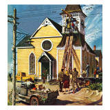 """Church Belfry Repair,"" April 20, 1946 Giclee Print by E. Melbourne Brindle"
