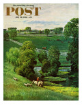 """Green Kentucky Pastures,"" Saturday Evening Post Cover, July 29, 1961 Giclee Print by John Clymer"