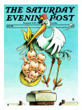 """Stork and Quints,"" Saturday Evening Post Cover, April 1, 1984 Reproduction procédé giclée par BB Sams"