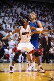 Dallas Mavericks v Miami Heat - Game Six, Miami, FL - June 12: Chris Bosh and Dirk Nowitzki Photographic Print by Garrett Ellwood