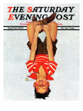 """Hanging Upside Down,"" Saturday Evening Post Cover, April 20, 1940 Giclee Print by Douglas Crockwell"