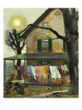 """Hanging Clothes Out to Dry,"" April 7, 1945 Giclee Print by John Falter"