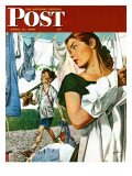 &quot;More Clothes to Clean,&quot; Saturday Evening Post Cover, April 17, 1948 Reproduction proc&#233;d&#233; gicl&#233;e par George Hughes