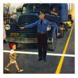 """Traffic Cop,"" September 3, 1949 Giclee Print by George Hughes"