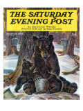 &quot;Bears Eating Maple Syrup,&quot; Saturday Evening Post Cover, March 28, 1942 Giclee Print by Paul Bransom