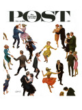 """Different Dancing Styles,"" Saturday Evening Post Cover, November 4, 1961 Gicléetryck av Thornton Utz"