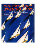 """Sailboat Regatta,"" Saturday Evening Post Cover, June 29, 1940 Giclée-vedos tekijänä Ski Weld"