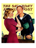 """Sailor Sniffing Perfume,"" Saturday Evening Post Cover, January 17, 1942 Giclee Print by John Newton Howitt"