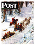 &quot;Winter Sleigh Ride,&quot; Saturday Evening Post Cover, December 17, 1949 Giclee Print by John Clymer