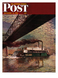 """""""Paddlewheeler on Ohio River,"""" Saturday Evening Post Cover, September 21, 1946 Giclee Print by John Atherton"""
