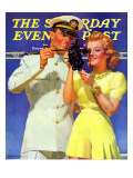 """Naval Officer & Redhead,"" Saturday Evening Post Cover, February 8, 1941 Giclee Print by McClelland Barclay"