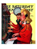 """Hotel Switchboard Operators,"" Saturday Evening Post Cover, June 21, 1941 Giclée-vedos tekijänä Albert W. Hampson"