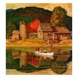 """Farm Pond Landscape,"" July 28, 1945 Giclee Print by Mead Schaeffer"