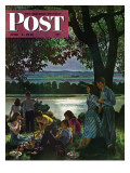 """Evening Picnic,"" Saturday Evening Post Cover, June 4, 1949 Giclee Print by John Falter"