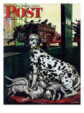&quot;Dalmatian and Pups,&quot; Saturday Evening Post Cover, January 13, 1945 Giclee Print by Stevan Dohanos