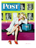 """The Model,"" Saturday Evening Post Cover, April 17, 1943 Giclee Print by Al Moore"