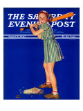 &quot;Girl at Bat,&quot; Saturday Evening Post Cover, August 10, 1940 Reproduction proc&#233;d&#233; gicl&#233;e par Douglas Crockwell