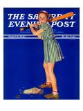"""""""Girl at Bat,"""" Saturday Evening Post Cover, August 10, 1940 Reproduction procédé giclée par Douglas Crockwell"""