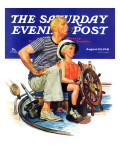 """Father Teaching Son to Sail,"" Saturday Evening Post Cover, August 30, 1941 Giclee Print by Charles Dye"