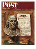 """Benjamin Franklin - bust and quote,"" Saturday Evening Post Cover, January 19, 1946 Giclee Print by John Atherton"