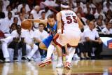 Dallas Mavericks v Miami Heat - Game Six, Miami, FL - June 12: Jose Barea and Eddie House Photographic Print by Garrett Ellwood