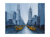 Yellow Cabs, New York Giclee Print by Geoff King