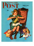 &quot;Knitting for the War Effort,&quot; Saturday Evening Post Cover, June 6, 1942 Giclee Print by James W. Schucker