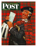 """Scotsman with Savings Bonds,"" Saturday Evening Post Cover, October 9, 1943 Giclee Print by Howard Scott"