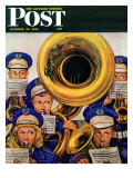 """March Band at Football Game,"" Saturday Evening Post Cover, October 19, 1946 Giclee Print by Stevan Dohanos"